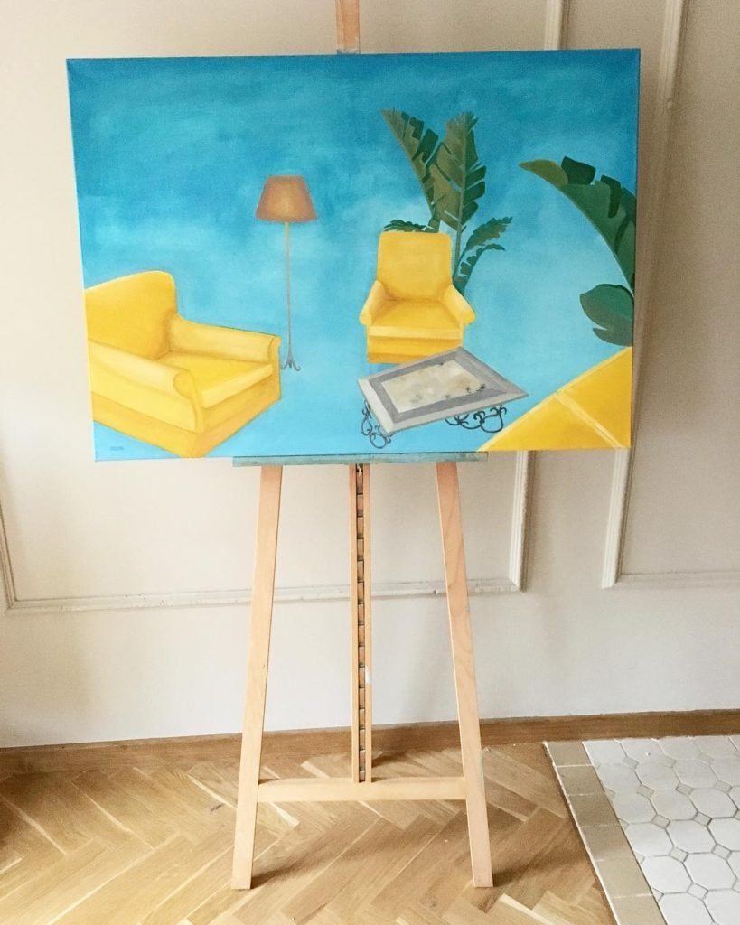 Three yellow chairs, oil on canvas, 70cm x 100cm